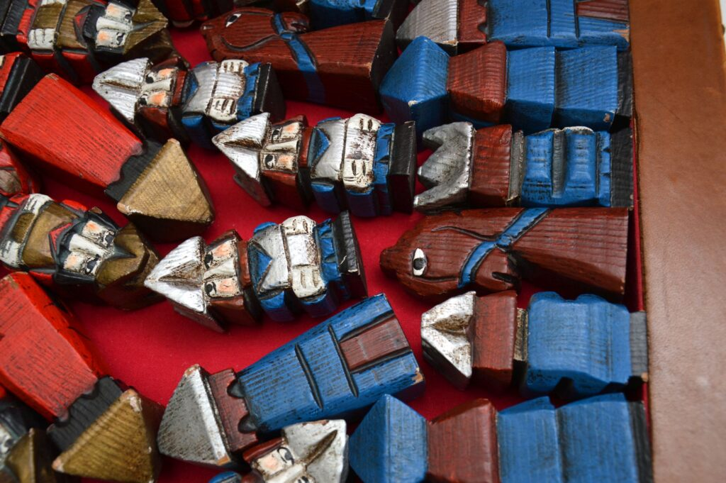 retro vintage antique leather chess board set