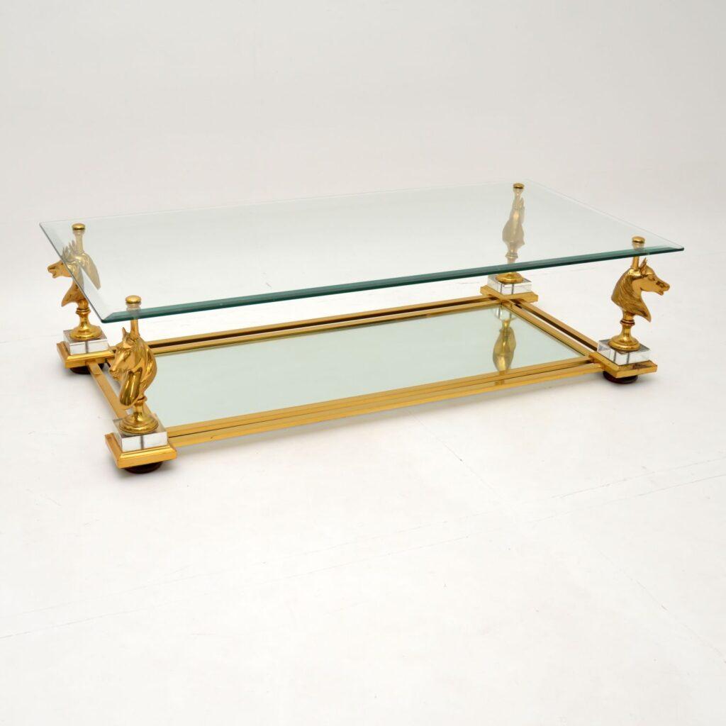 retro vintage antique brass glass coffee table maison jansen