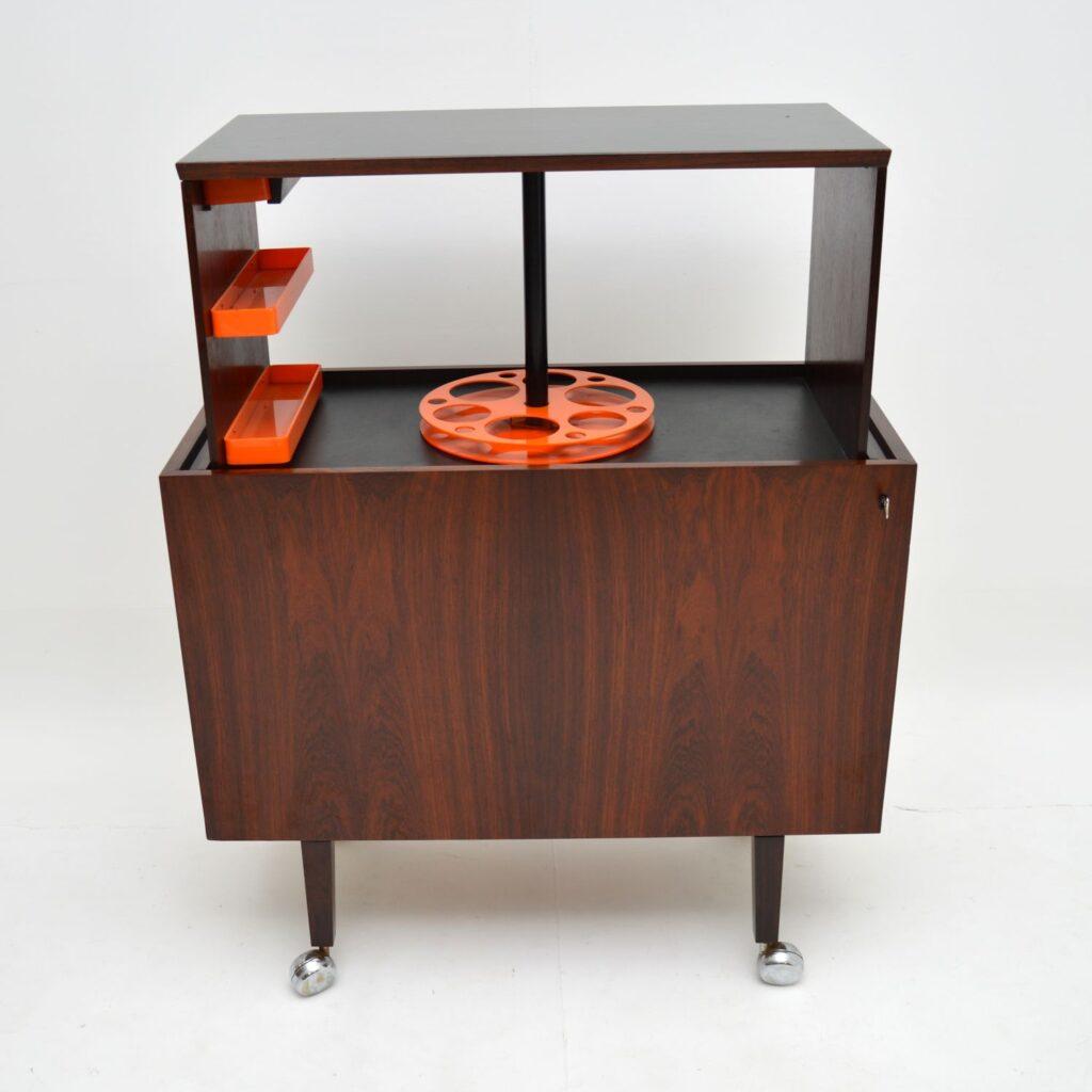 danish retro vintage rosewood hydraulic drinks cabinet kai kristiansen