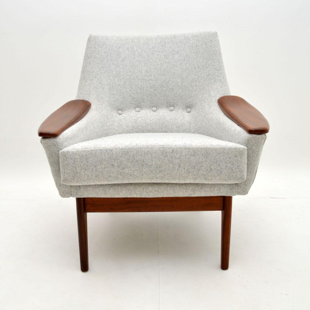 danish retro vintage afromosia wool armchair easy chair