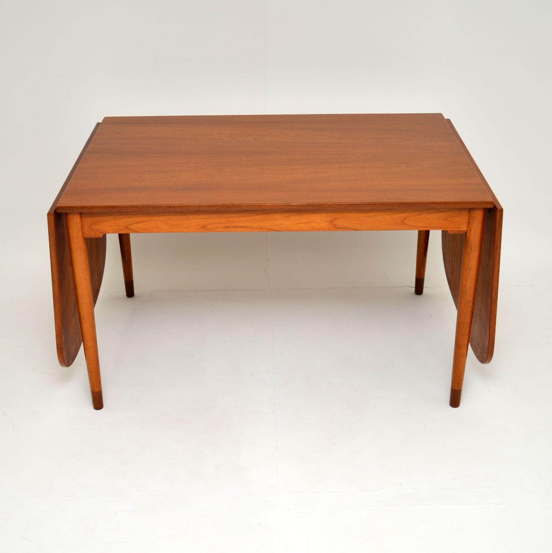 danish teak retro vintage drop leaf dining table by borge mogensen