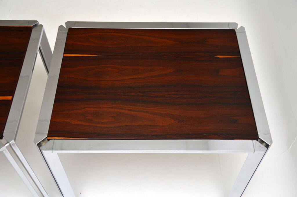 pair of italian retro rosewood chrome side tables