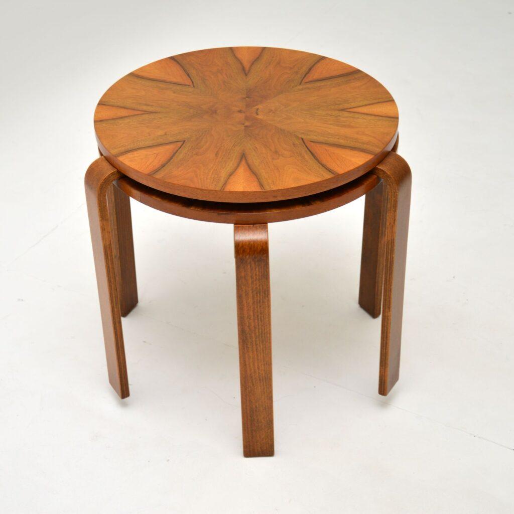 retro vintage walnut bentwood stacking stools side tables alvar aalto