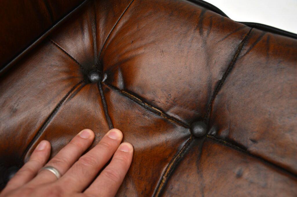 pair of retro vintage leather chrome armchairs