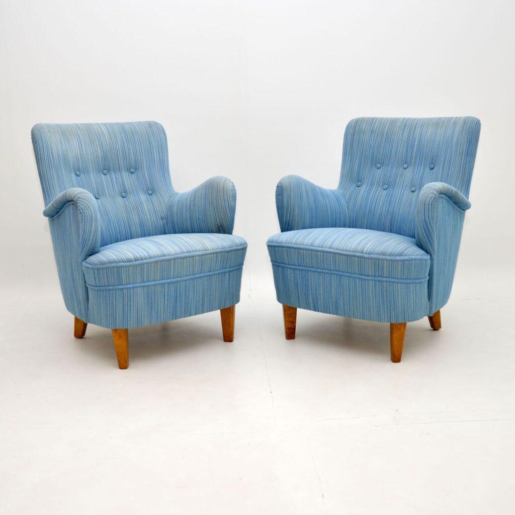pair of retro vintage swedish carl malmsten armchairs