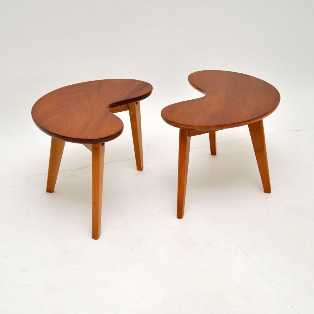 pair of retro vintage boomerang kidney side tables