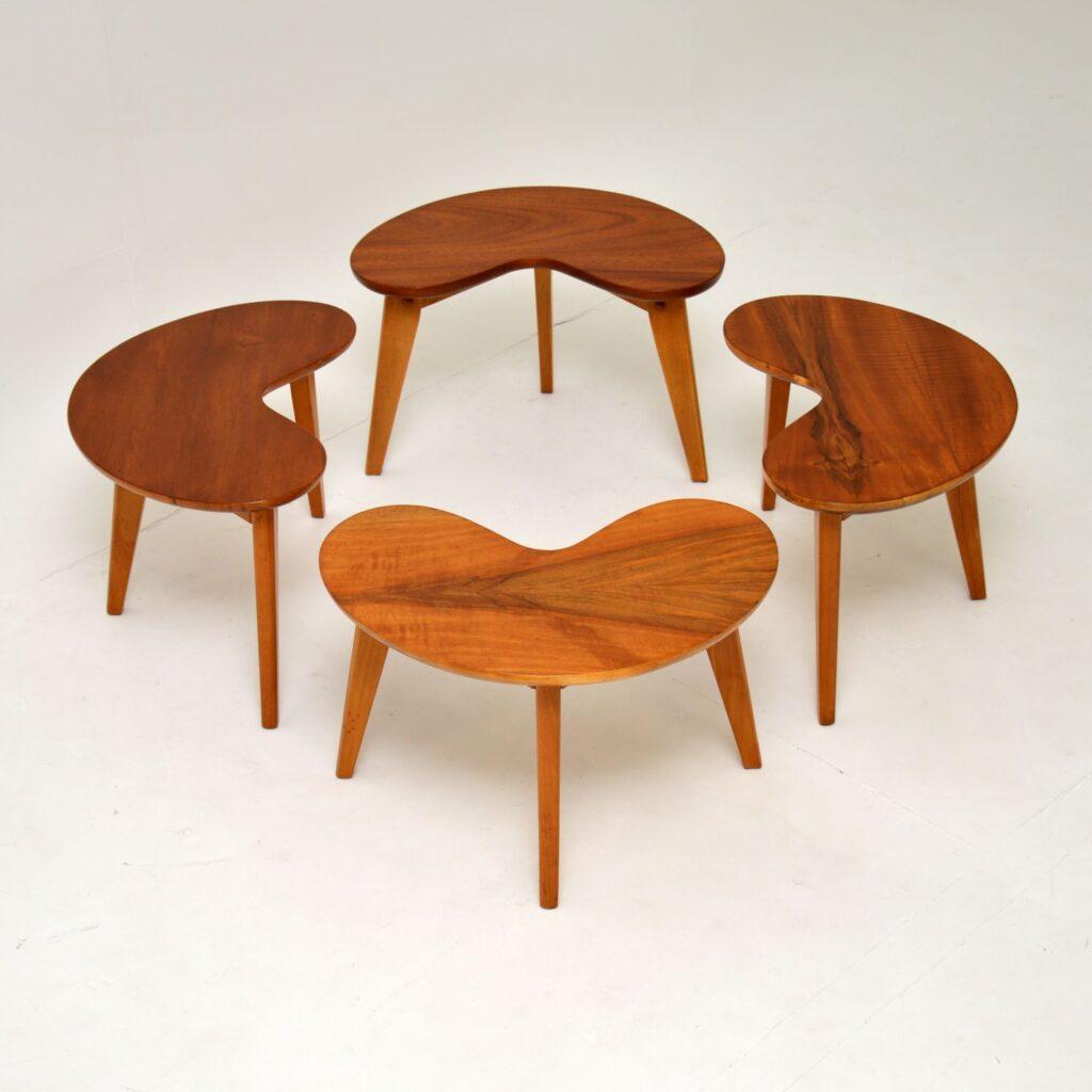pair of retro vintage walnut kidney side tables