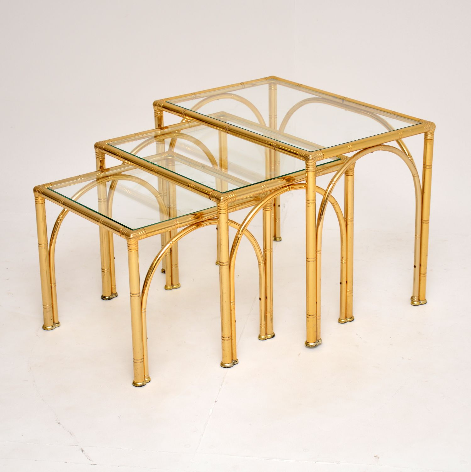 retro vintage brass faux bamboo nest of tables