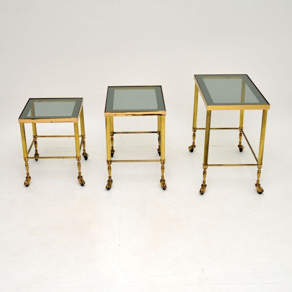 retro vintage antique brass french nest of three tables