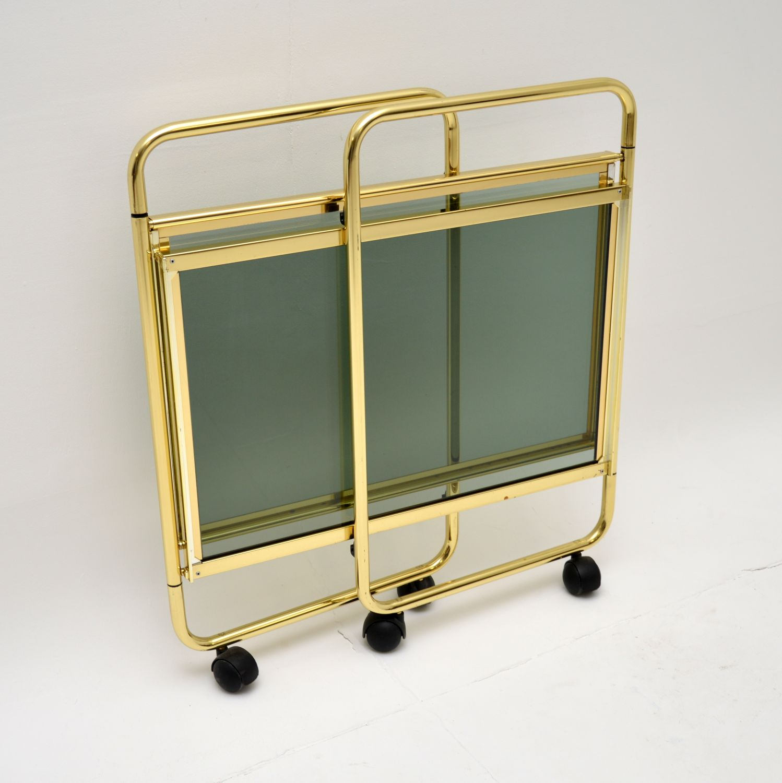 retro vintage brass glass italian drinks trolley mb italia