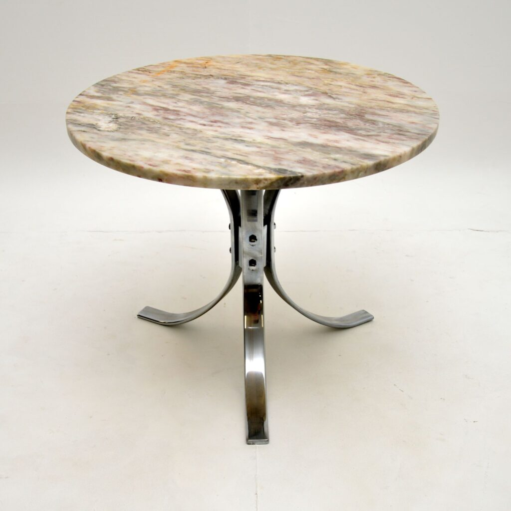 retro vintage marble top chrome coffee table