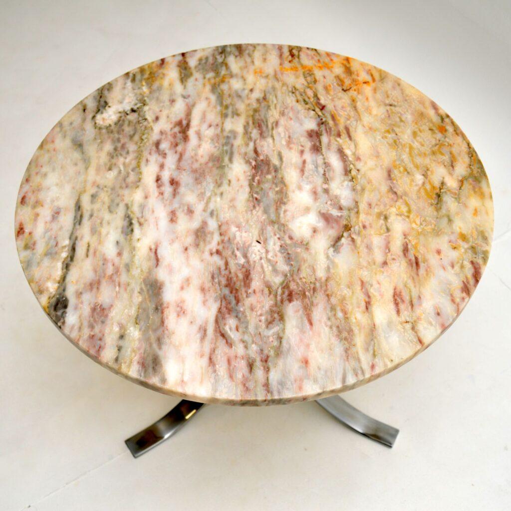 retro vintage chrome marble coffee table