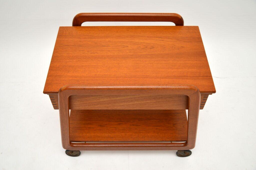 danish retro vintage teak drinks trolley sewing table work box sika mobler
