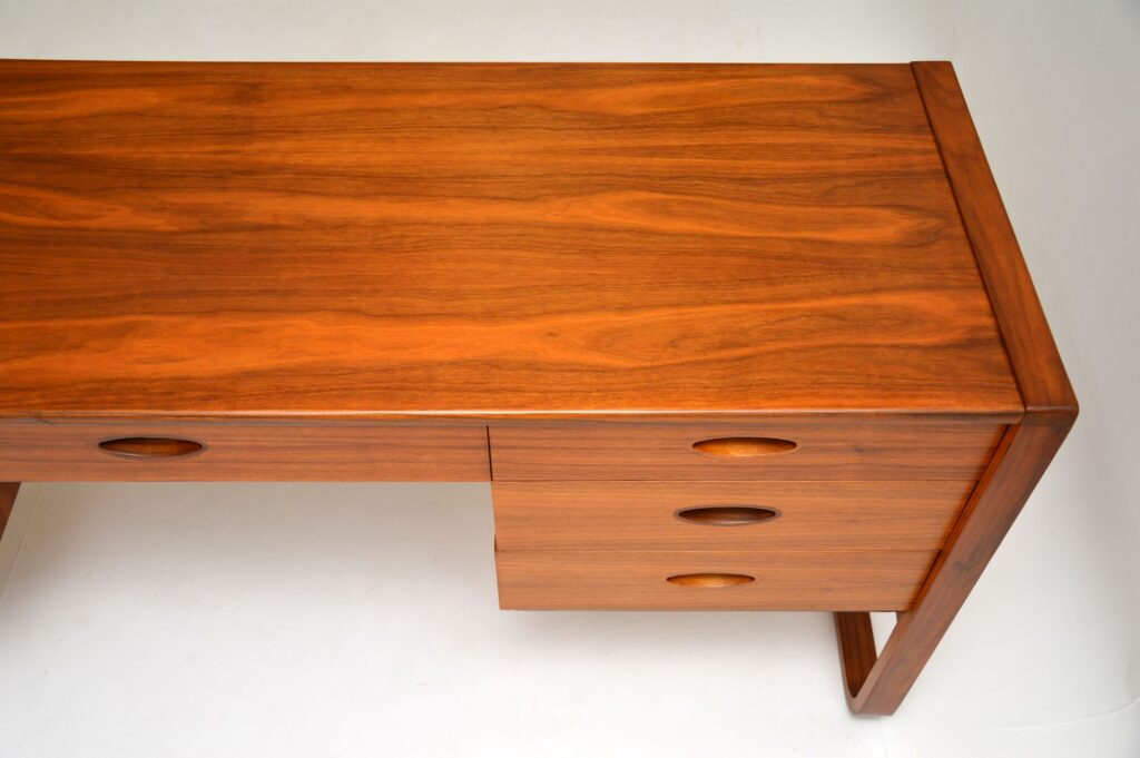 retro vintage walnut desk by uniflex