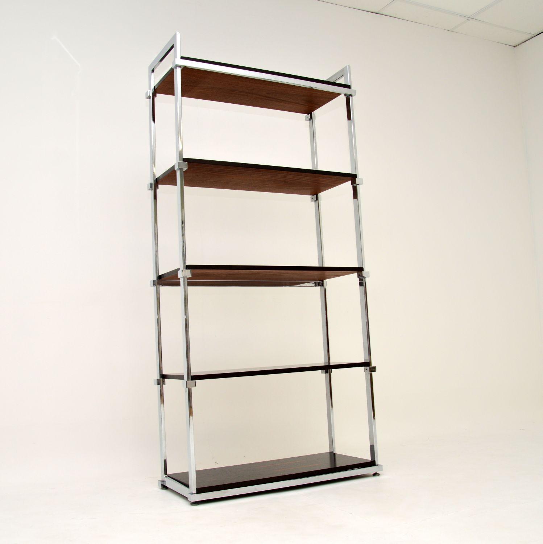 retro vintage chrome rosewood bookcase pieff