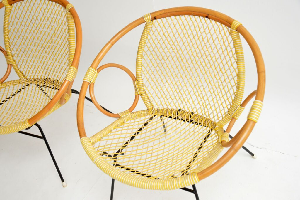retro vintage bamboo woven cord tub armchairs