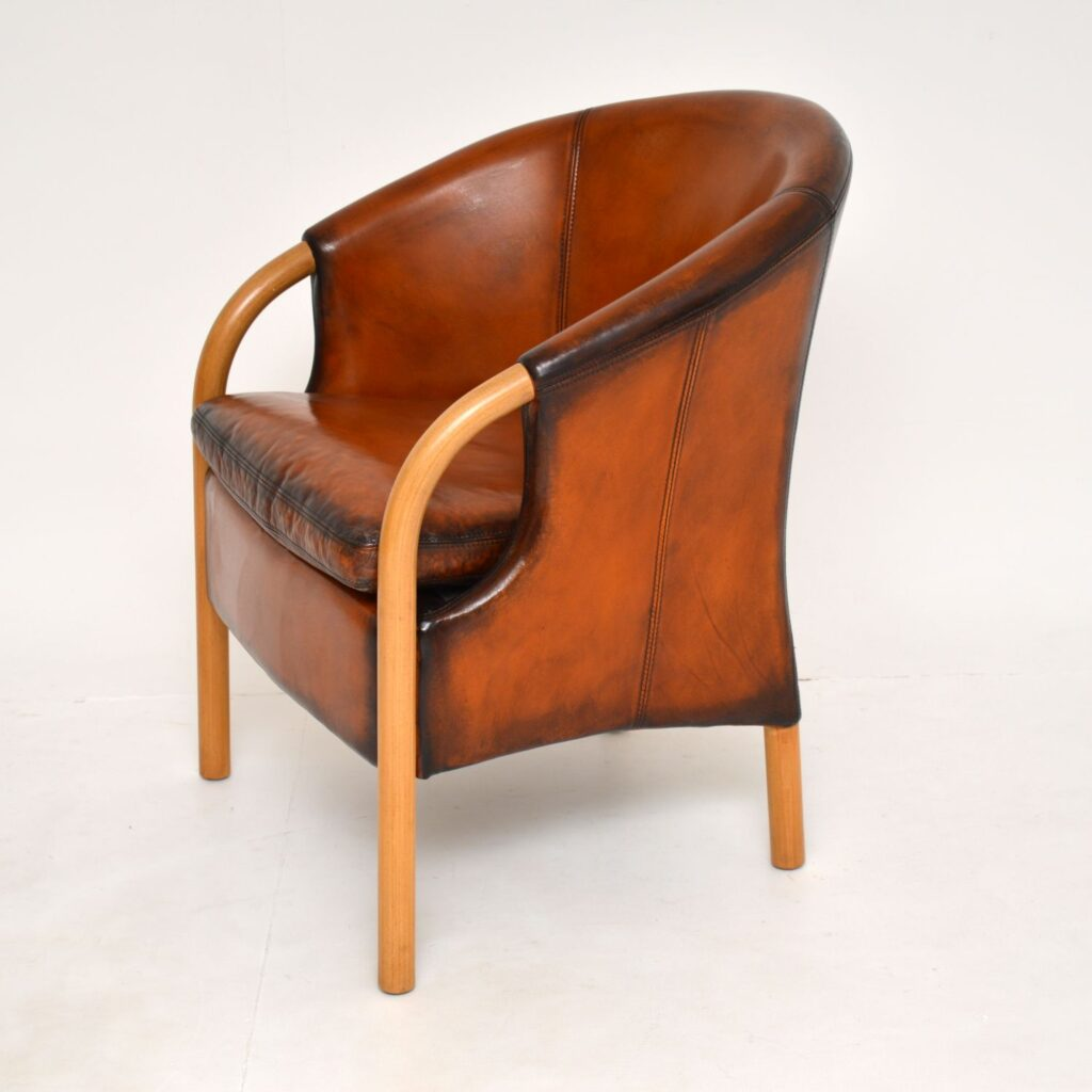 pair of danish retro vintage leather armchairs by stouby