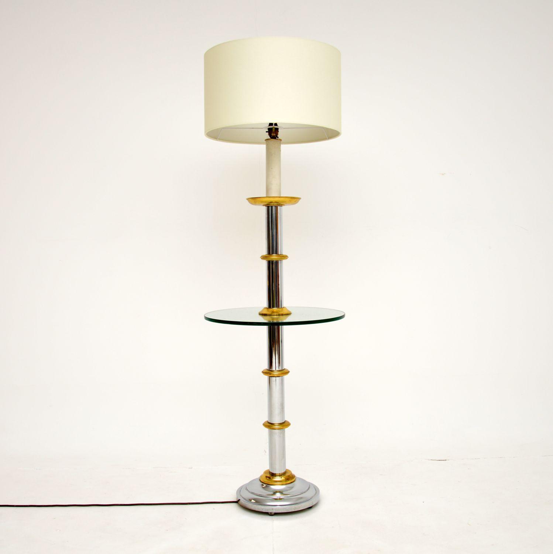 retro vintage chrome brass glass floor lamp table