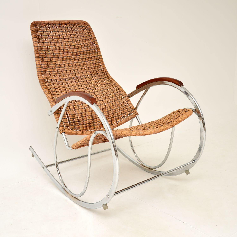 retro vintage chrome steel rocking chair armchair