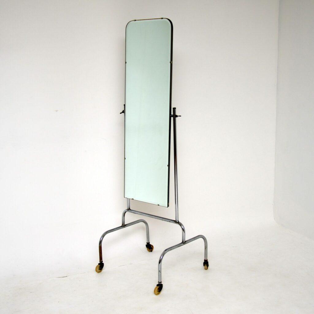retro vintage chrome steel cheval mirror