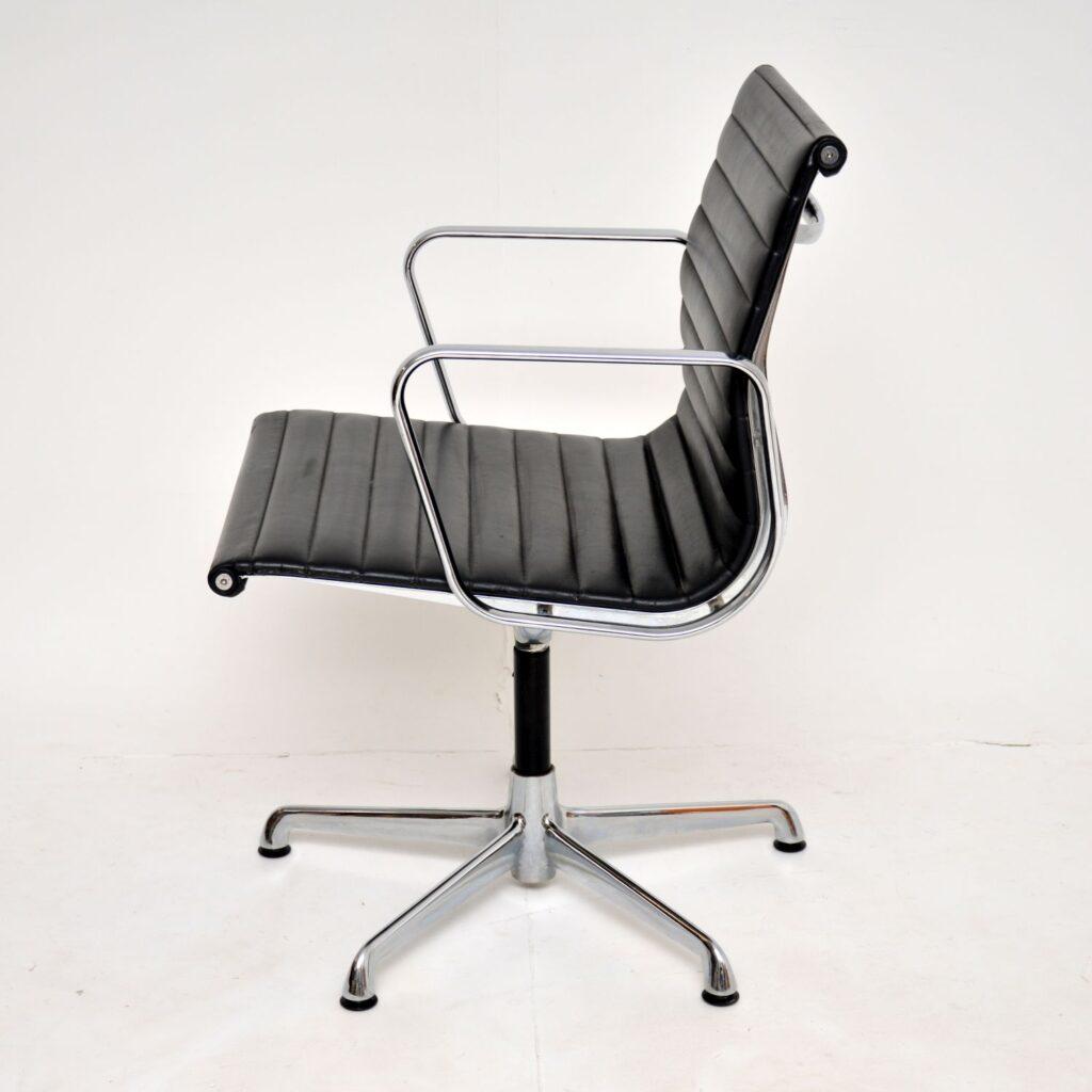 retro vintage charles eames EA108 leather chrome desk chair icf herman miller