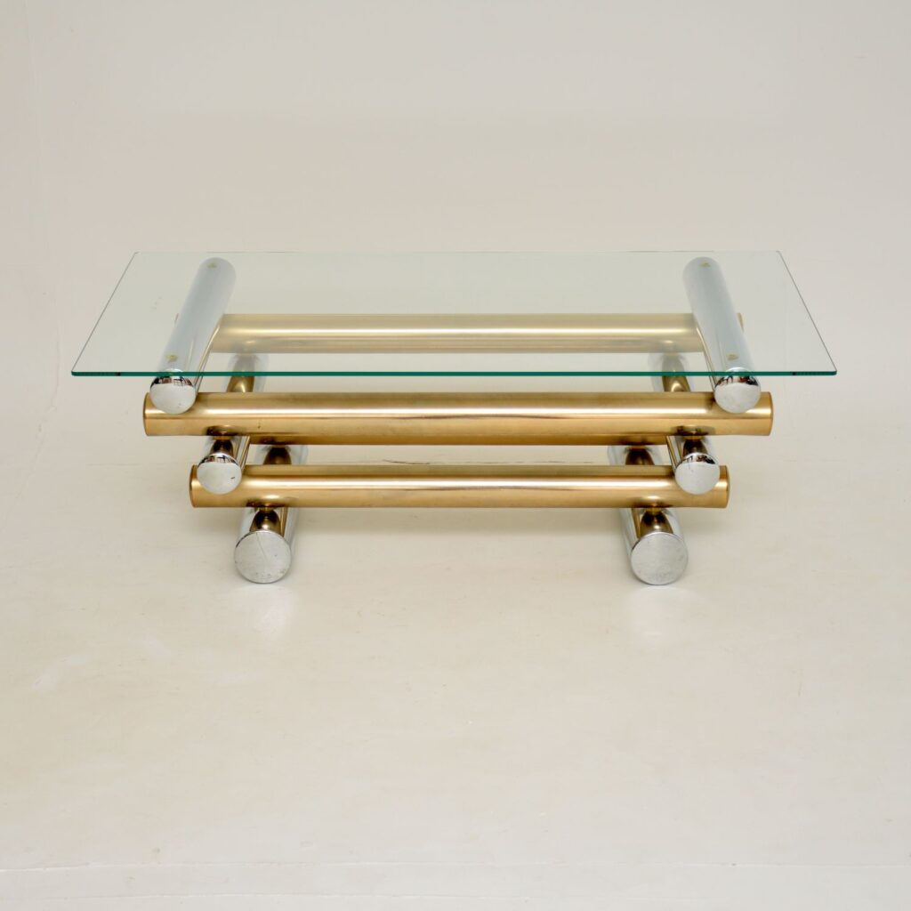 retro vintage chrome brass coffee table tim bates pieff