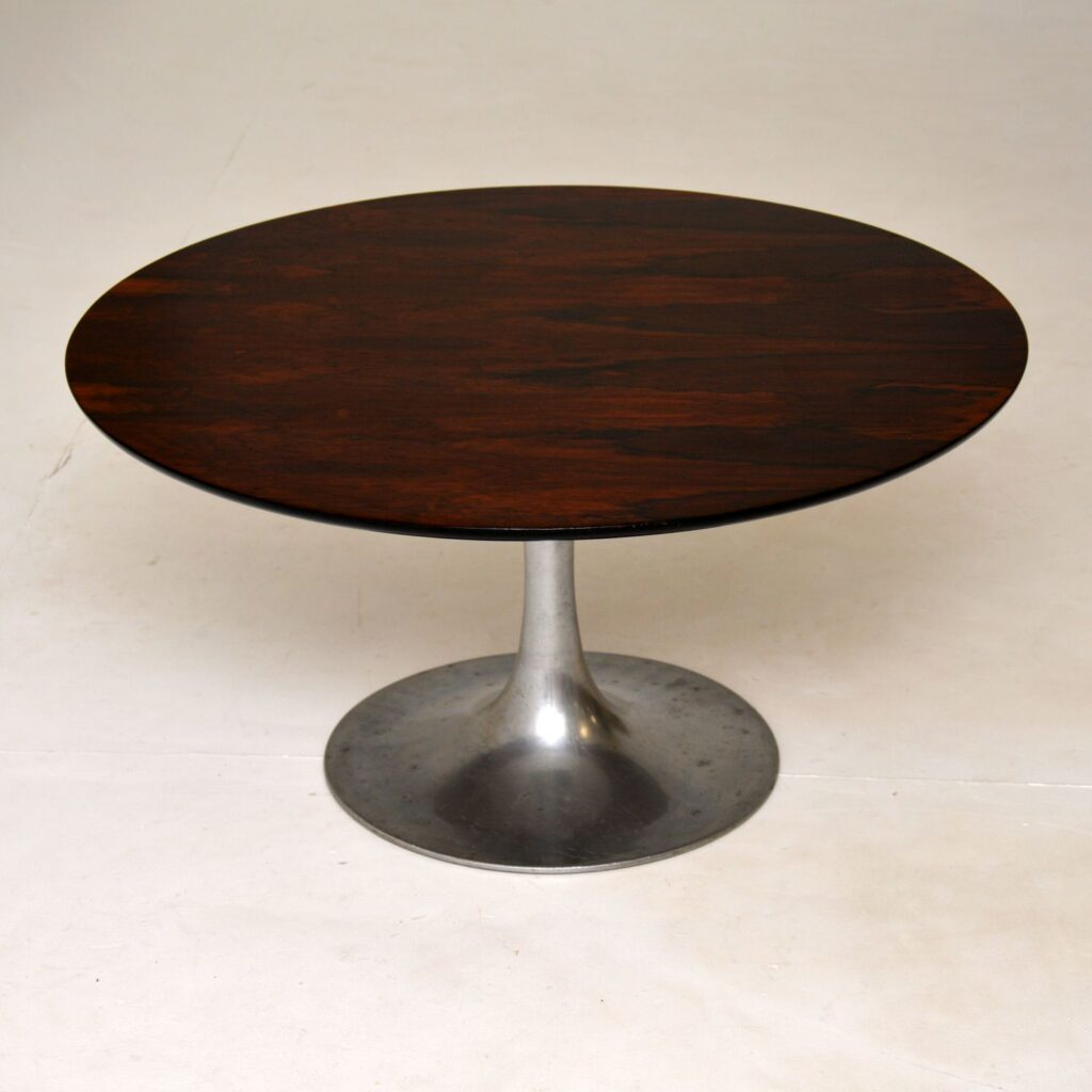 vintage retro rosewood steel tulip coffee table maurice burke arkana