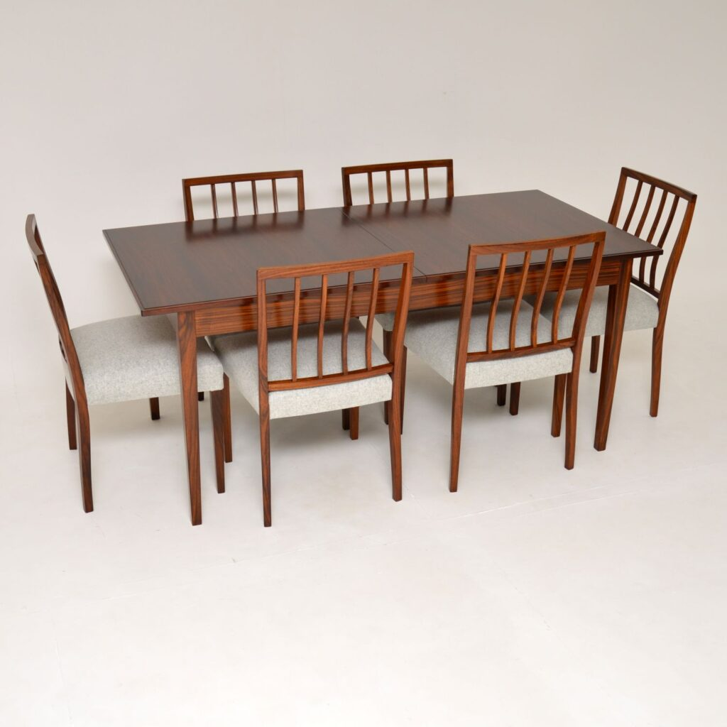 retro vintage rosewood dining table chairs robert heritage archie shine