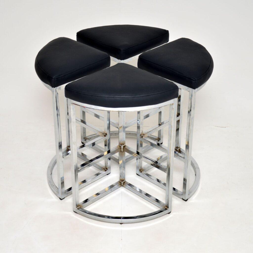set of 4 four retro vintage chrome bar stools