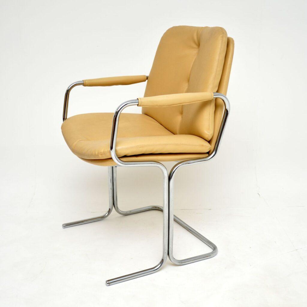 set of ten 10 retro vintage pieff eleganza leather chrome dining chairs