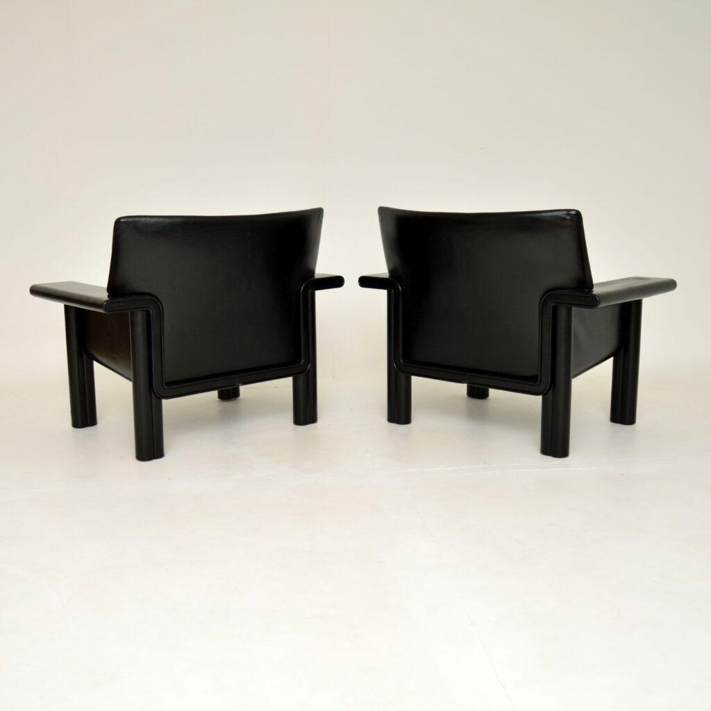 pair of retro vintage black leather armchairs tobia and afra scarpa meritalia