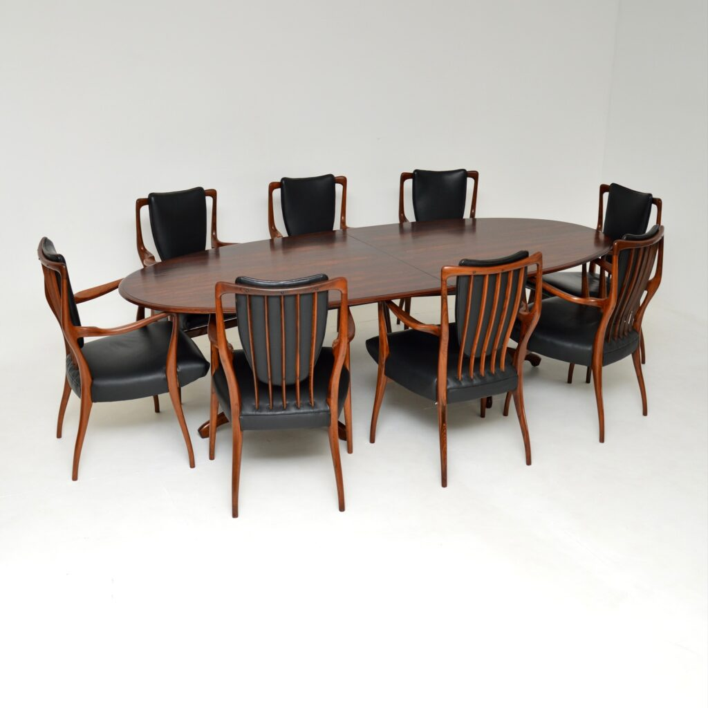 andrew milne aj rosewood leather retro vintage dining table chairs heals