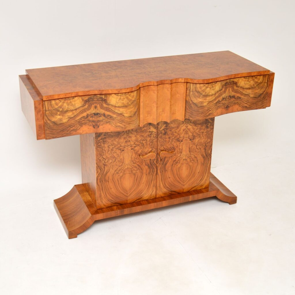 art deco hille burr walnut console table