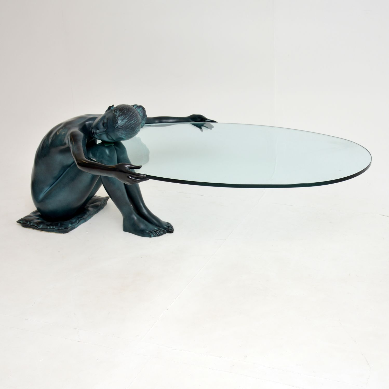 retro vintage bronze iron glass coffee table