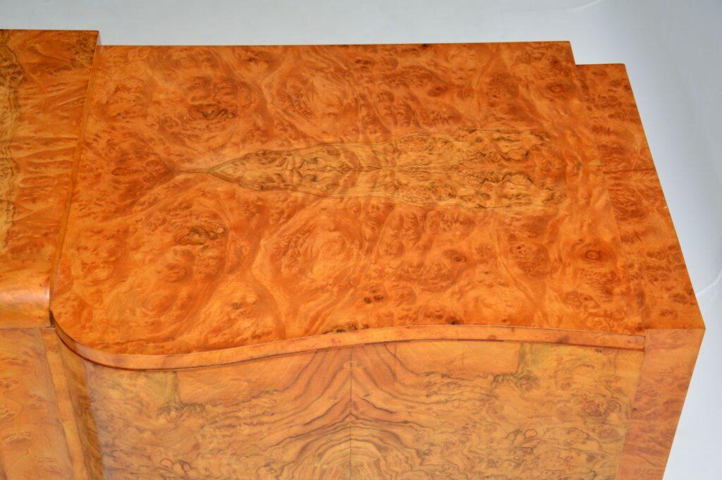 art deco burr walnut hille sideboard