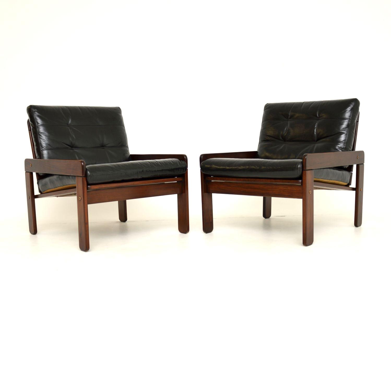 pair danish retro vintage rosewood leather armchairs