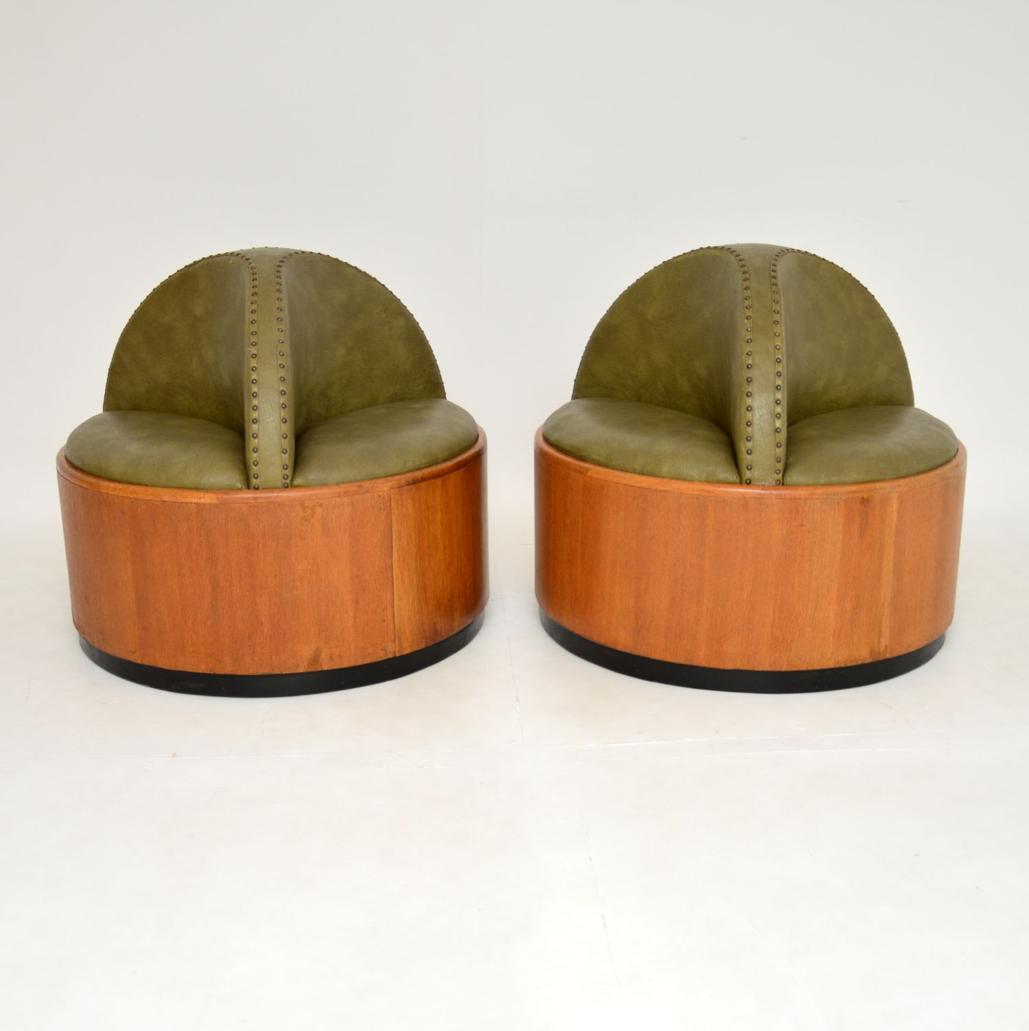 pair of antique art deco conversation seats chairs benches