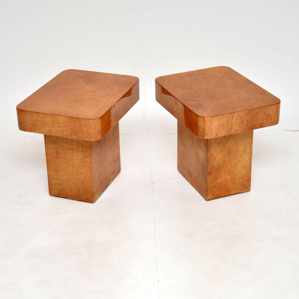 pair of retro vintage italian parchment side tables aldo tura