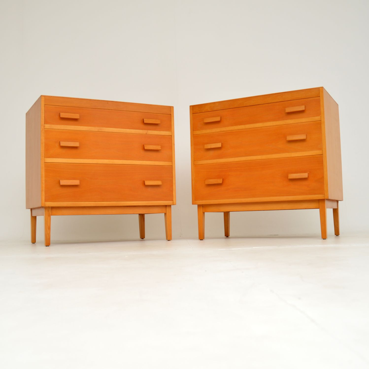 pair of retro vintage satin wood elm chest chests of drawers
