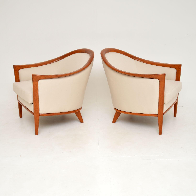 pair of swedish vintage retro teak armchairs bertil fridhagen aristokrat broderna andersson