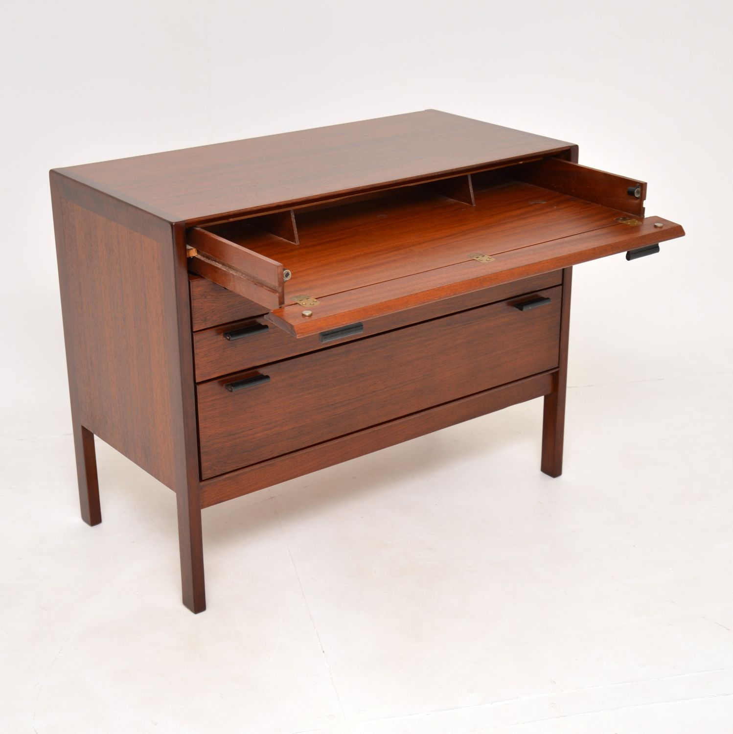 retro vintage rosewood leather chest of drawers bureau