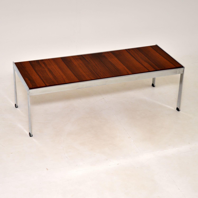 retro vintage rosewood chrome coffee table richard young merrow associates