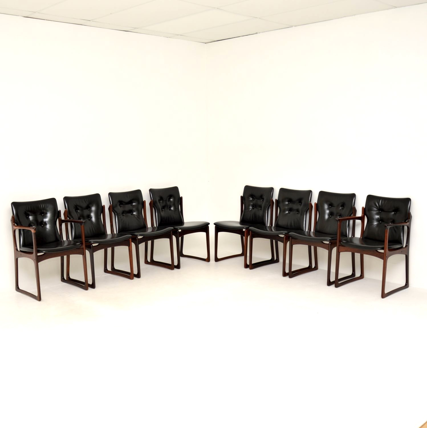 set of 8 eight danish rosewood leather vintage retro dining chairs vamdrup