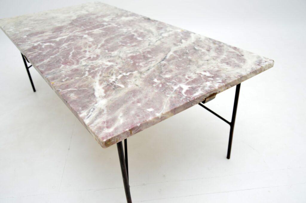 retro vintage steel brass marble coffee table